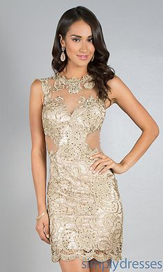 Short Sleeveless Lace Dress by Dave and Johnny at SimplyDresses.com ( ooo la la, sexy $250.00)