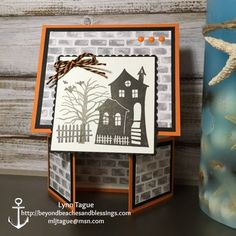 StampinUp Double Dutch Fold Halloween Card made with Halloween Scares and Spooky Fun stamp sets, Layering Squares Framelits, Halloween Night Specialty DSP, designed by demo Lynn Tague. See more cards and gift ideas at http://BeyondBeachesandBlessings.com #BeyondBeachesandBlessings