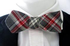 Mens Diamond point  bowtie ~ Elegant red and grey plaid    - tie ~ self tie bowtie ~ neoud
