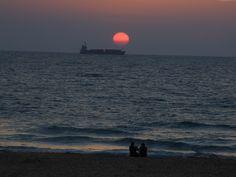 Ashdod Israel at sunset.