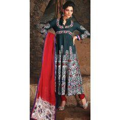 KVD12B21807 - Bottle Green Cotton Churidar Anarkali Suit with Dupatta