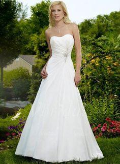 Wedding Dresses - $169.48 - A-Line/Princess Strapless Sweetheart Court Train Chiffon Satin Wedding Dress With Ruffle Beading Sequins (00205001025)