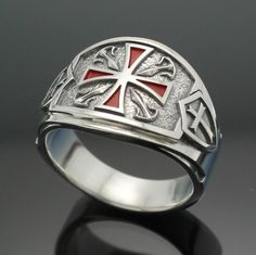 Caballeros Templarios anillo masónico para hombres en plata