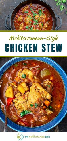 This chicken stew is perfect for a chilly day! It is a healthy comfort food that your family will love for a weeknight meal! #chickenstew #mediterraneandish #weeknightmeals #stewrecipes Chicken Thigh Stew, Easy Chicken Stew, Stew Chicken Recipe, Chicken Recipes, Chicken Meals, Chicken Thighs, Mediterranean Dishes, Mediterranean Diet Recipes, Mediterranean Style