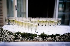 Alone, a champagne glass, dressed, adds class! Party Hire, Vintage Party, Woodland Wedding, Champagne, Wedding Ideas, Table Decorations, Glass, Inspiration, Design