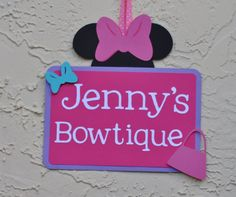Minnie Mouse Bowtique inspired Door sign any by jkdesigns2009