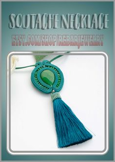 Soutache tassel necklace pendant, long teal soutache necklace, green blue pendant Teal Necklace, Soutache Necklace, Tassel Necklace, Necklaces, Pendant Necklace, Handmade Items, Handmade Jewelry, Unique Jewelry, Etsy Jewelry