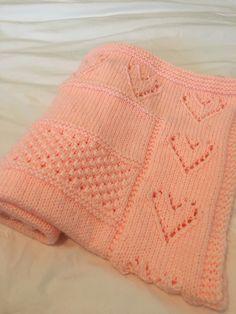 Intarsia Knitting, Baby Hat Knitting Pattern, Knitting Needles, Knitting Ideas, Owl Baby Blankets, Knitted Baby Blankets, Knitted Heart, Free Baby Stuff, Baby Blanket Patterns