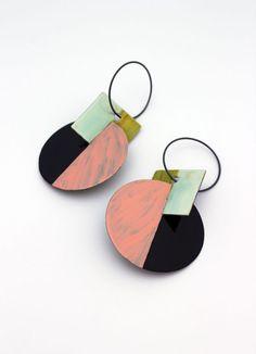 Peta Kruger - Circle + Square Earrings w/ Pastel Pink + Seafoam