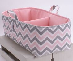 XL Long Diaper Caddy - Storage Bin Basket Container Organizer - Pink Grey Chevron Fabric