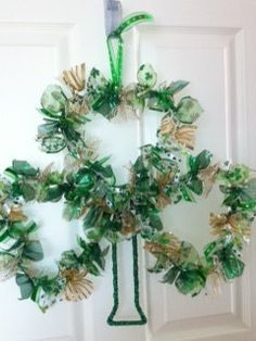 St Patrick's Day shamrock ribbon wreath...love it!
