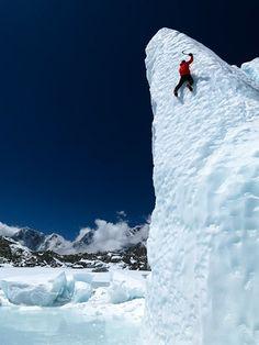 Ueli Steck climbs the Khumbu Glacier on Mount Everest, the tallest of the 14 8,000-meter peaks.