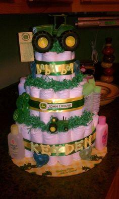 John Deer baby shower diaper cake by Boho
