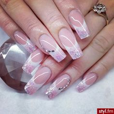 French Mani with pink glitter and gemstone accents