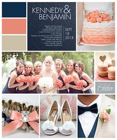#TrendAlert Navy and Coral is the latest wedding trend! Brought to you by Carlson Craft #invitations #weddingcolors