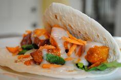 Vegan buffalo wing tacos