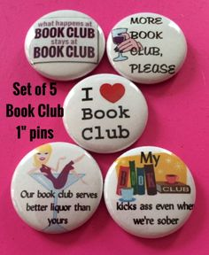 Book Club Pins by BellyLaughButtons on Etsy, $5.00