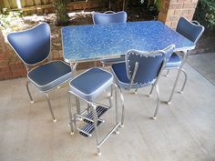 Retro 50's kitchen Laminex & chrome table chairs stool restored Formica setting in Home & Garden, Furniture, Kitchen Furniture | eBay