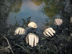 Halloween Decorations ~ YES!!!  add these hands to the pond, some dry ice, flood light....my neighbours are gonna hate me :)