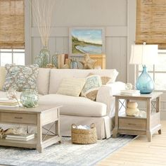 Sandy Beige and Blue Living Room...   Natural accents and blue and green ocean hues create beach ambiance.