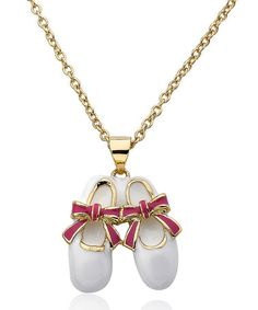 This Gold & White Ballet Shoe Pendant Necklace is perfect! #zulilyfinds
