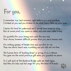 A beautiful poem from the Rainbow Bridge
