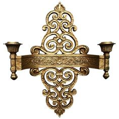 Italian Gold Dual Candle Sconce ($89) ❤ liked on Polyvore featuring home, home decor, candles & candleholders, candle holders, gold candles, italian home decor, gold candlestick holders, paris candle and gold candle sconces