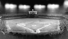 Yankee slugger Roger Maris was five home runs from breaking Babe Ruth's single-season record of 60 when he stepped to the plate in this panoramic view of Comiskey on Sept. 12, 1961.