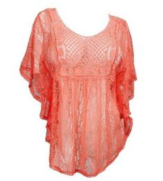 Coral crochet lace trendy plus size tops for women - 1x, 2x 3x plus size sheer tops