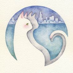 Kai Fine Art is an art website, shows painting and illustration works all over the world. Watercolor Cat, Watercolor Animals, Cat Drawing, Painting & Drawing, Illustrations, Illustration Art, Chibi, You Draw, White Cats
