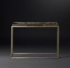 """RH Modern's Hudson Shagreen Tray Console Table - 48"""":Designed by Anthony Cox, our table's sleek metal frame supports a faux shagreen tray – an elegant decorative material popular during the Art Deco era. The pairing offers a rich, unexpected interplay of materials."""