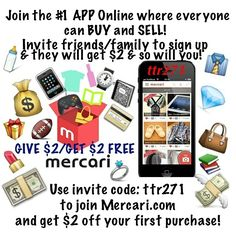 "Resell unwanted stuff!  Use ""ttr271"" to sign up & get $2 off! Earn $2 for every friend you invite! 50 FRIEND'S = $100 FREE CREDITS! Download https://www.mercari.com/dl/  #iphone7 #xbox1 #ps4 #sony #beats #gaming #yeezyboost #supreme #gucci #applewatch #xboxone #nike #coins #jewelry #gold #silver #sterling #makeup #beats #antique"