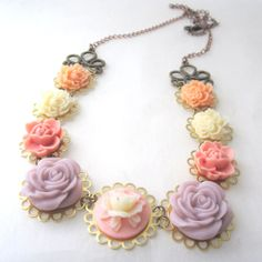 Pale pink and dusty rose vintage statement necklace by cloudcake, $32.00