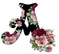Alphabet Art, Monogram Alphabet, Alphabet And Numbers, Initial Letters, Alphabet Wallpaper, Free Printable Art, Baby Clip Art, Picture Letters, Floral Letters