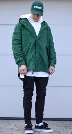 new internship reserved ✅ today im wearing a green jacket by white hoodie by longline white tshirt by denim by socks by and shoes by x good day everyone 👌 Mens Rain Jacket, Outfit Grid, Raincoats For Women, Hoodie Outfit, Sport Fashion, Mens Fashion, White Boys, Mode Vintage, White Hoodie