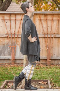 "Grey dress and waterfall cardigan with Sock Dreams ""Dreamer Tartan OTK"" socks and black boots."
