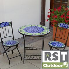 @Overstock - RST Outdoor Ceramic Tile Bistro 3-piece Set - Bring a splash of color to your garden or patio that lasts year-round.  Kiln fired ceramic tiles, individually arranged by artisans creates a one-of-a-kind work of art.    http://www.overstock.com/Home-Garden/RST-Outdoor-Ceramic-Tile-Bistro-3-piece-Set/7612925/product.html?CID=214117  $449.99