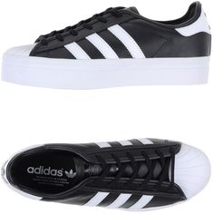 Adidas Originals Low-tops & Trainers (£60) ❤ liked on Polyvore featuring shoes, sneakers, black, leather flat shoes, black trainers, flat shoes, black shoes e adidas originals trainers