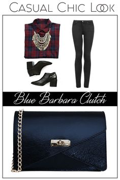 Made of natural leather, the blue Barbara clutch is easy to wear and to match @w