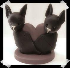 Bride and Groom Bats Wedding Cake Topper