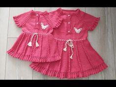 3-4 YAŞ İÇİN ELBİSE YAPTIK ( BAŞTAN SONA ANLATIMLI) - YouTube Lace Patterns, Baby Knitting Patterns, Hand Knitting, Crochet For Kids, Crochet Baby, Knitting Videos, Baby Sweaters, Crochet Fashion, Baby Outfits