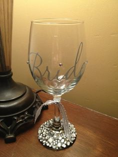 How to Bling Wine Glasses   Rhinestone Wedding Wine Glass by LeahLuxe on Etsy, ...   Someday...
