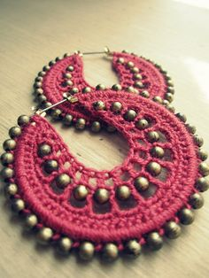 Crocheted hoops in coral and gold ❤ by BohemianHooksJewelry on Etsy, $16.50