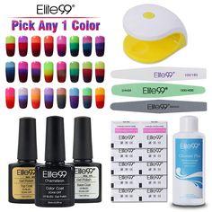 Elite99 10ml Temperature Color Changing Nail Gel Polish + Mini LED Lamp Nail Cleanser Plus Nail Files Remover Wraps Nail Tools #Affiliate