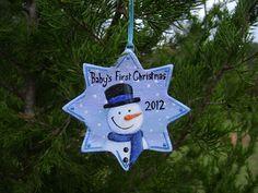 Baby's First Christmas 2012 - Snowman - Hand Painted Salt Dough Ornament. $9.00, via Etsy.