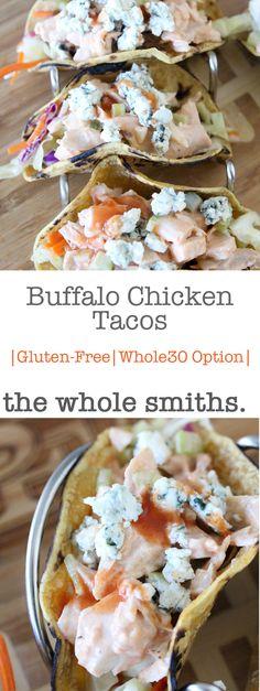 Gluten-Free Buffalo Chicken Tacos - the Whole Smiths Buffalo Chicken Tacos, Taco Dip With Meat, Bacon Wrapped Avocado, Vegetarian Roast, Smoked Salmon Appetizer, Salty Snacks, Potato Skins, Game Day Food, Fun Food