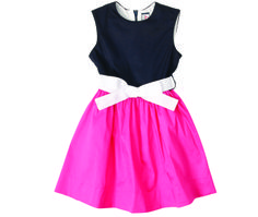 Sally Soiree Dress in fuchsia navy color block.  #missbtween #preppystyle #tweens #girlsdresses