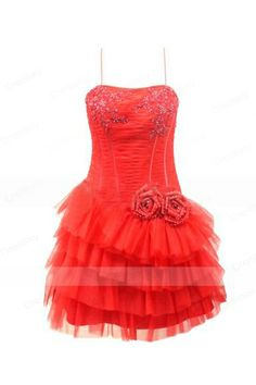 Spaghetti Strap Red Dress with Rosette Accent