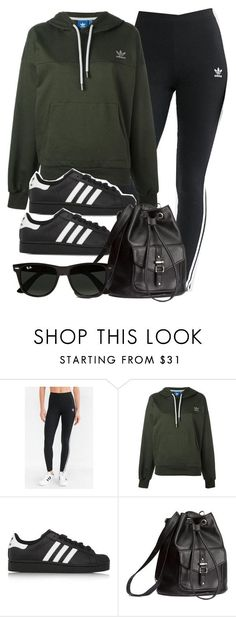 """Style #11632"" by vany-alvarado ❤ liked on Polyvore featuring adidas, adidas Originals, H&M and Ray-Ban"