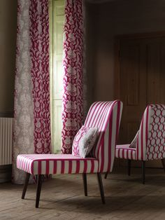 Clarke and Clarke - Traviata Fabric Collection - Pink and white striped chairs made with patterned backs and dark wood legs, with pink, white and grey patterned curtains Grey Patterned Curtains, Clarke And Clarke Fabric, Dado Rail, Fantasy Rooms, Striped Chair, Types Of Curtains, Slipper Chairs, Fabric Blinds, Curtain Patterns
